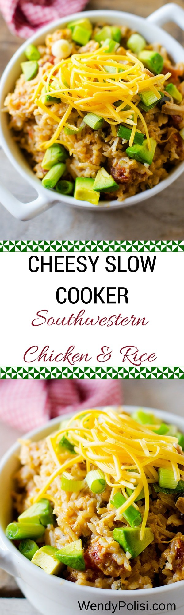 Cheesy Slow Cooker Southwestern Chicken & Rice - This healthy Crock Pot casserole recipe is an easy weeknight dinner. It can be made with either quinoa or rice!