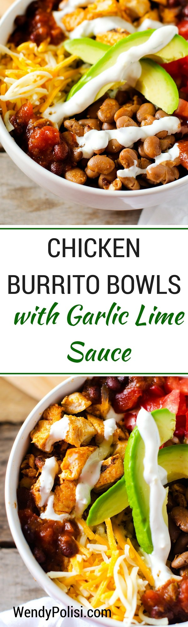 Chicken Burrito Bowls with Garlic Lime Sauce