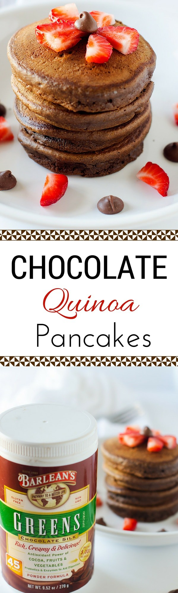 Chocolate Quinoa Pancakes - My Secret Weapon for Getting Quinoa and Greens in My Kids! You won't believe how fluffy and delicious these pancakes are or that they are packed with greens.
