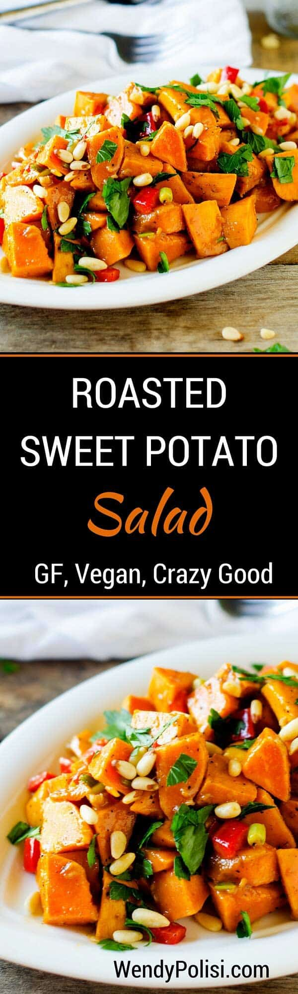 This Roasted Sweet Potato Salad Recipe is a healthy side dish that is so easy to make. Throw in some quinoa, kale or black beans to make this a complete meal. This healthy sweet potato salad is vegan and naturally gluten free.  #vegan #glutenfree #saladrecipe #veganrecipe