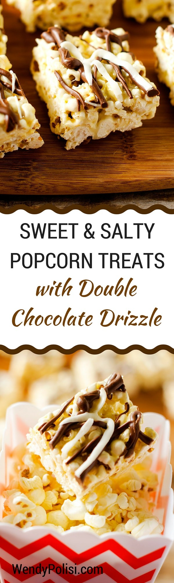 Sweet & Salty Popcorn Treats with Double Chocolate Drizzle