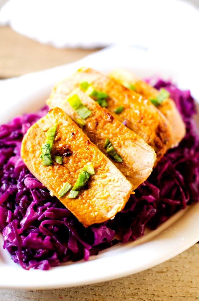 Fast and Easy Dinner: Marinated Pork and Braised Red Cabbage