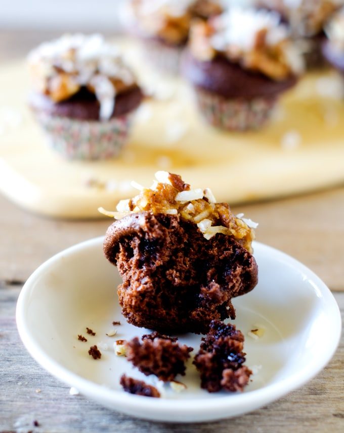 Gluten Free German Chocolate Cupcakes - These deliciously simple cupcakes taste just like the real thing, but hands on time is less than 10 minutes! - WendyPolisi.com