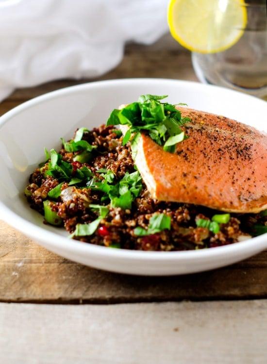 Maple Glazed Salmon with Cranberry Pecan Quinoa Salad