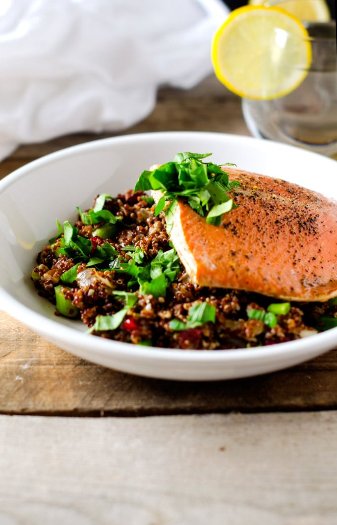 Maple Glazed Salmon with Cranberry Pecan Quinoa Salad