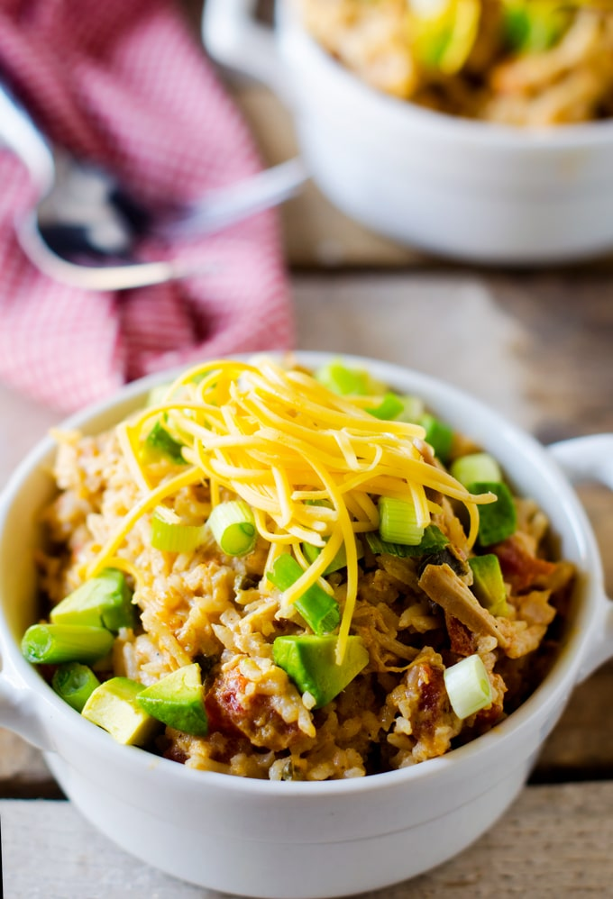 Cheesy Slow Cooker Southwestern Chicken & Rice