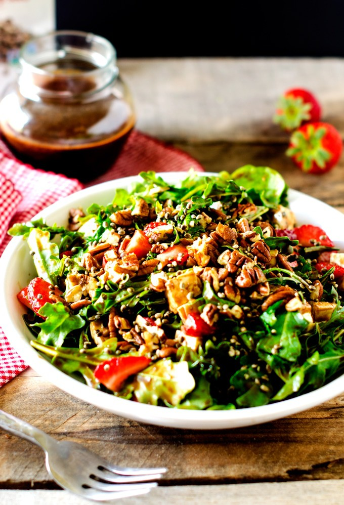 Strawberry Pecan Salad with Hemp Seeds and Spicy Chocolate Vinaigrette