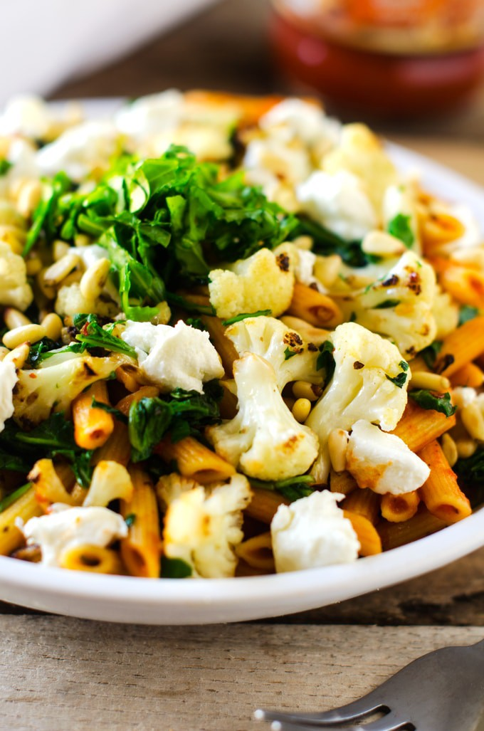 This Goat Cheese, Arugula & Cauliflower Penne with Crispy Capers is ...