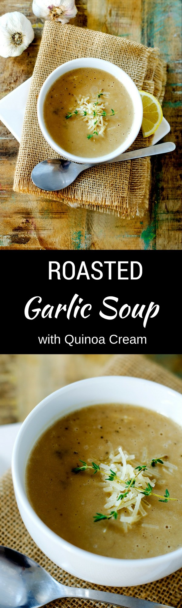 Roasted Garlic Soup with Quinoa Cream
