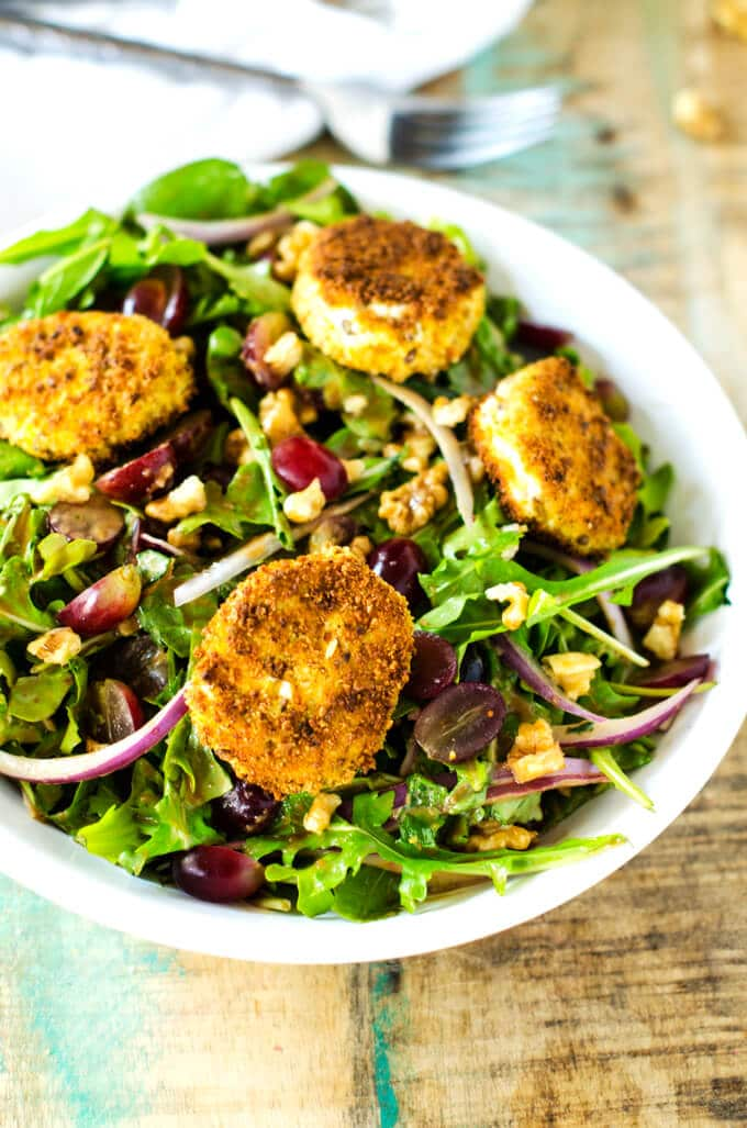 Photo of Fried Goat Cheese Salad on a rustic background