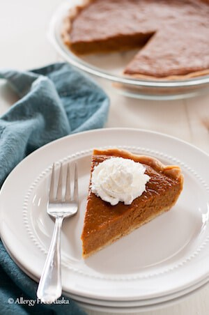 Photo of a slice of a Dairy Free Maple Pumpkin Pie.
