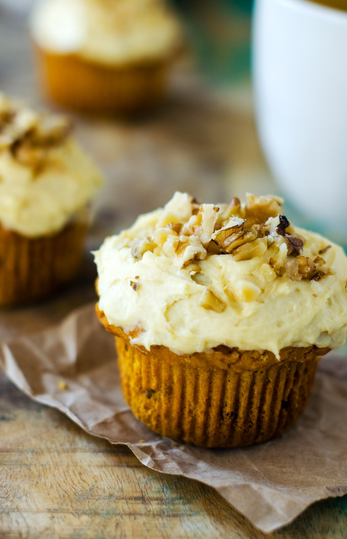 Gluten Free Pumpkin Walnut Muffins with Cream Cheese Frosting - Wendy ...