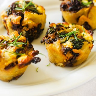 Gluten Free Caramelized Onion, Spinach & Goat Cheese Rolls with Quinoa Crust
