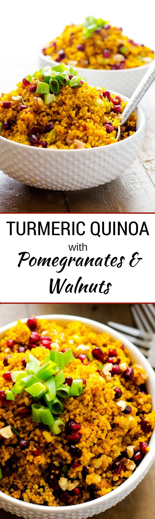 Turmeric Quinoa with Pomegranates and Walnuts