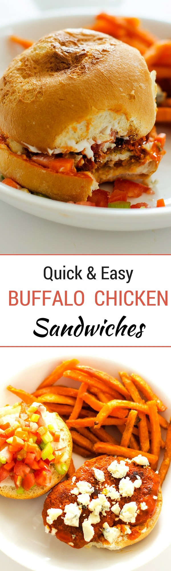 Buffalo Chicken Sandwiches- Looking for an easy weeknight meal the whole family will love? These quick and easy Buffalo Chicken Sandwiches served with Sweet Potato Fries are your solution! - WendyPolisi.com - #farmtoflavorrecipes
