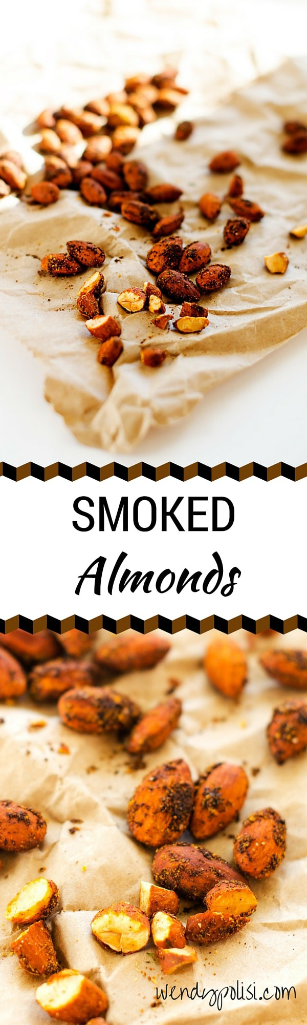 Smoked Almonds - These smoked almonds will rock your world! Hubby called them bacon almonds. Perfect on a salad, in a wrap or by themselves. - WendyPolisi.com
