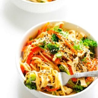 Photo of two Spicy Noodle Bowls with Chicken and Veggies