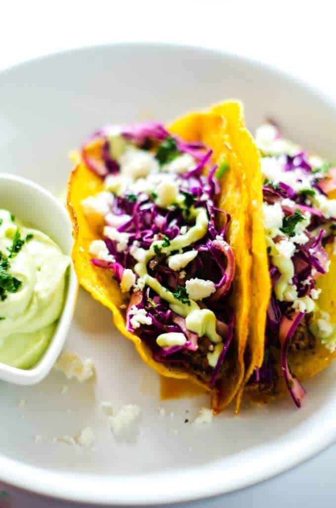 Close of photo of a Beef Taco Recipe with Cilantro Slaw and Avocado Cream