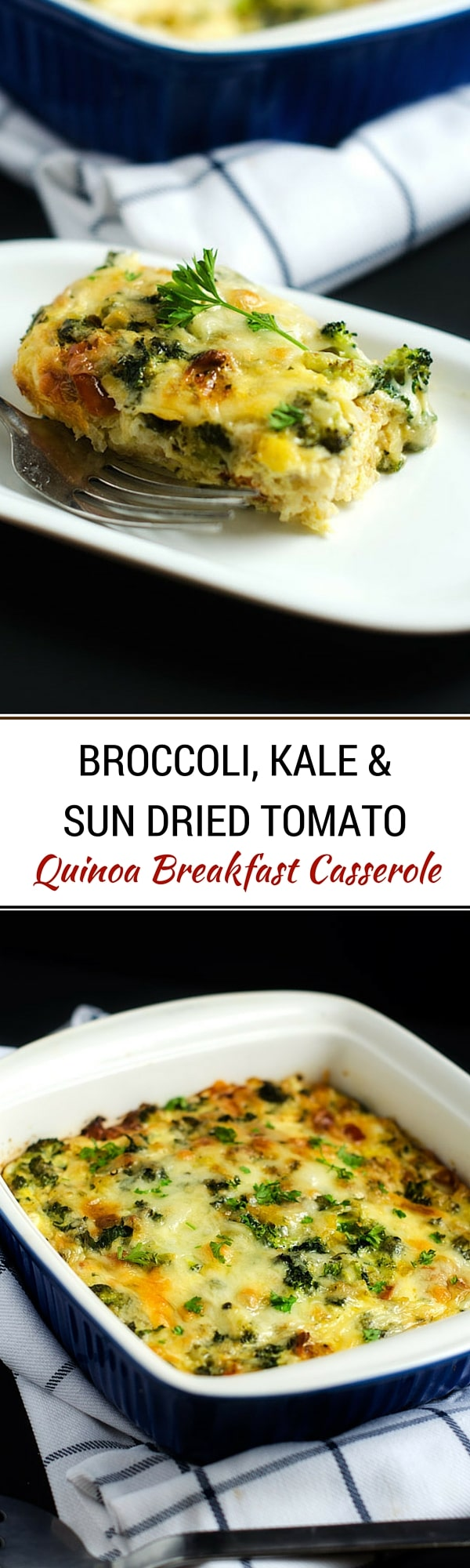 Broccoli, Kale & Sun Dried Tomato Quinoa Breakfast Casserole - This vegetarian breakfast casserole is the perfect healthy way to start your day!  - WendyPolisi.com #thereciperedux