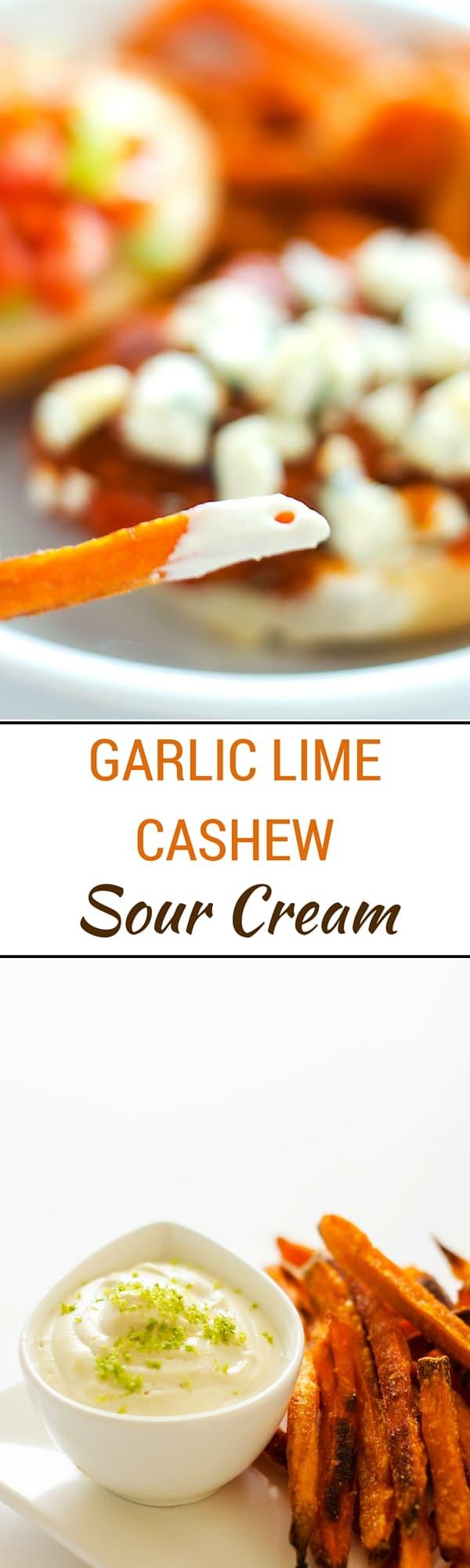 Garlic Lime Cashew Sour Cream - You won't miss the dairy in this healthier alternative to sour cream. Dairy-Free, Gluten-Free & Vegan.
