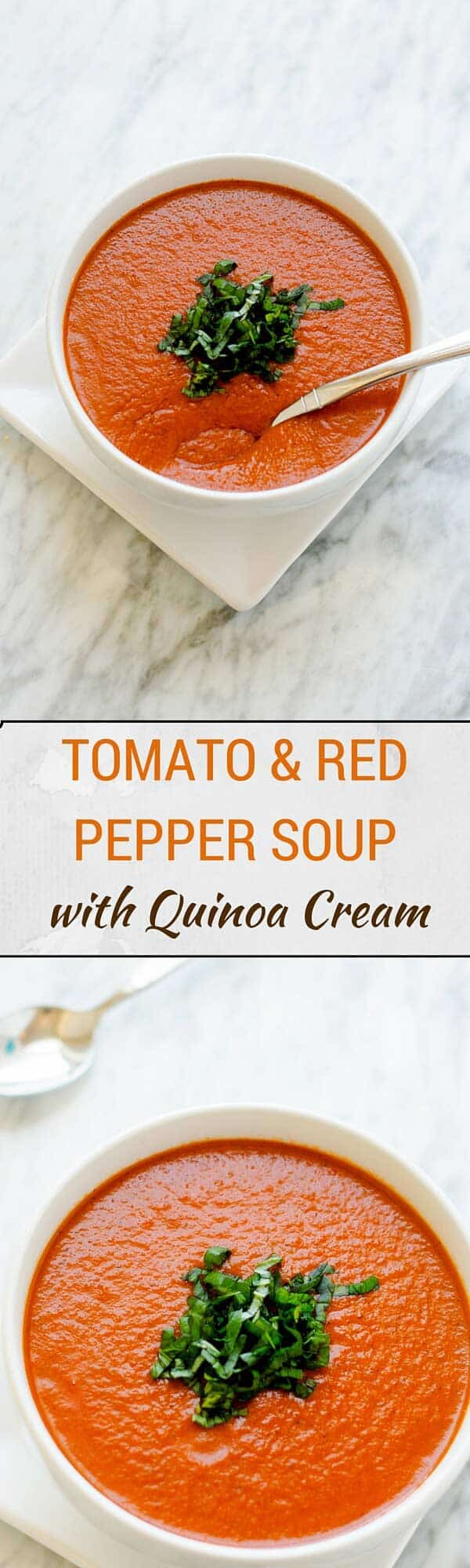 This Tomato & Red Pepper Soup is a delicious and nutritious alternative when you need a comfort food fix.  So creamy and flavorful! #soup #healthy #easyrecipe