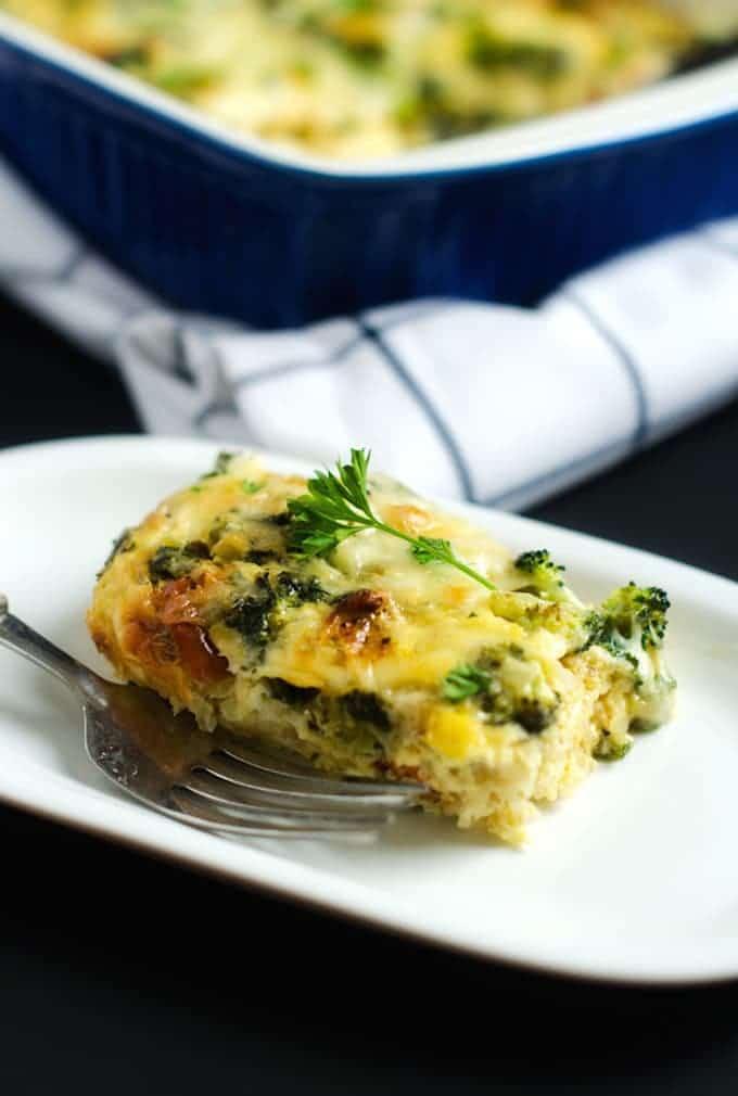 Broccoli, Kale & Sun Dried Tomato Quinoa Breakfast Casserole