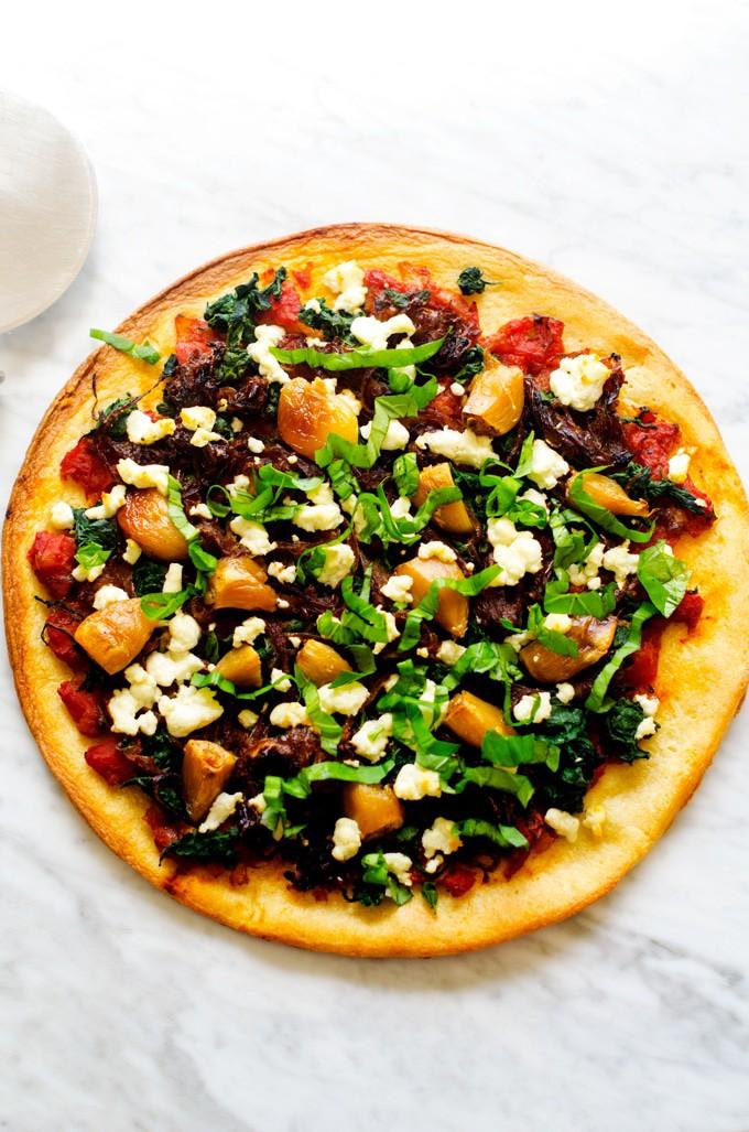 Caramelized Onion, Roasted Garlic & Goat Cheese Pizza