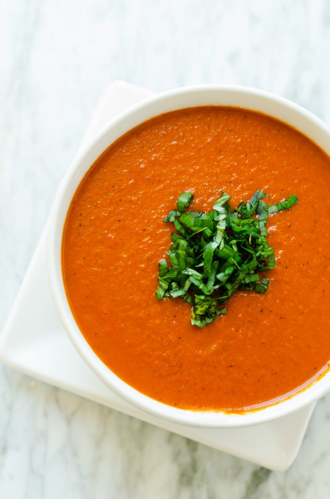 omato & Red Pepper Soup - This easy to make soup is packed with flavor and so amazing!  I replaced heavy cream with my (vegan) quinoa cream and it was fabulous. - WendyPolisi.com