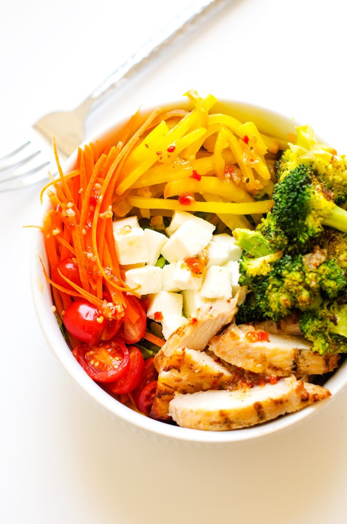 Roasted Golden Beet & Broccoli Salad Bowl with Chicken
