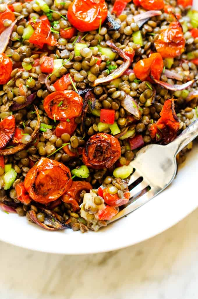 Close up photo of a fork holding lentil salad resting in a bowl of lentil salad with roasted tomatoes, onions, and garlic.