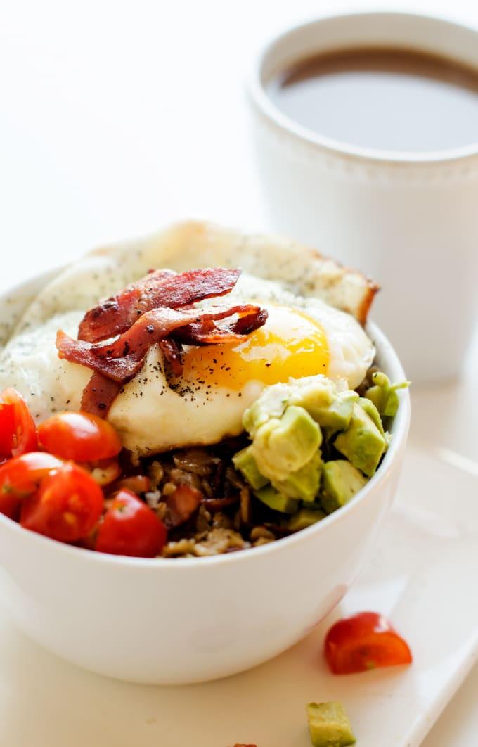 Savory Oatmeal Bowl with Bacon, Avocado & Fried Egg
