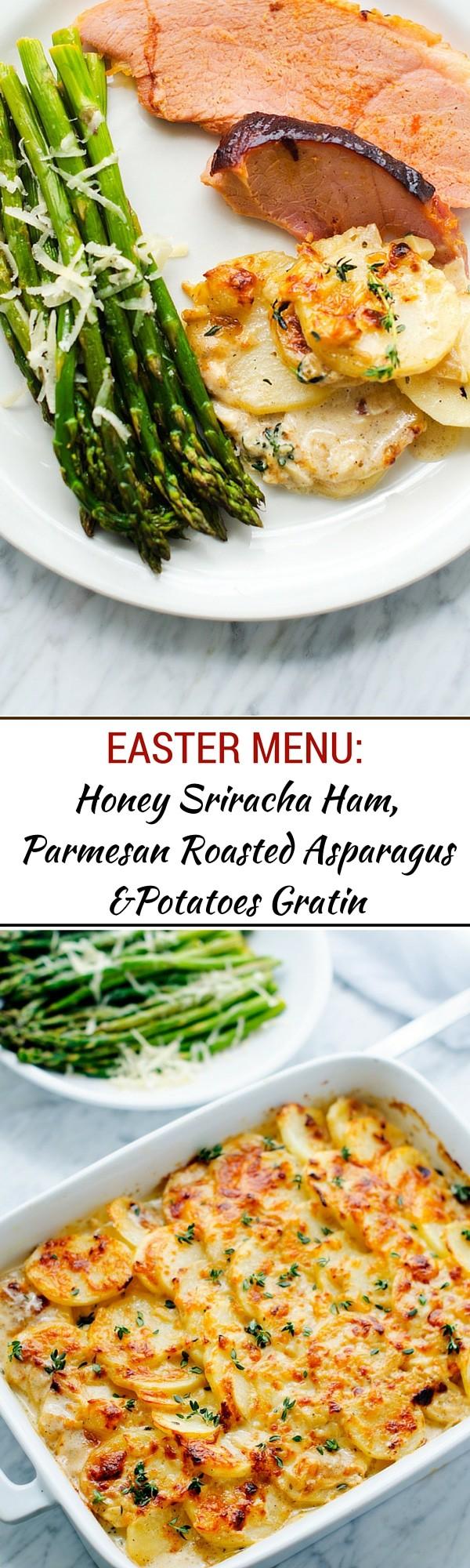 Our Easter Menu: Honey Sriracha Ham, Goat Cheese Potatoes Gratin & Roasted Asparagus - - WendyPolisi.com
