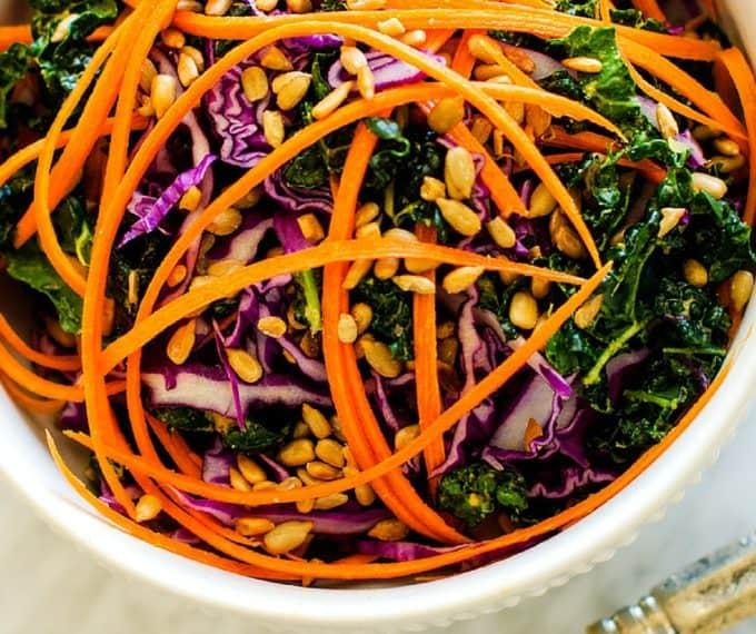 Kale Salad with Smokey Tahini Dressing - Wendy Polisi