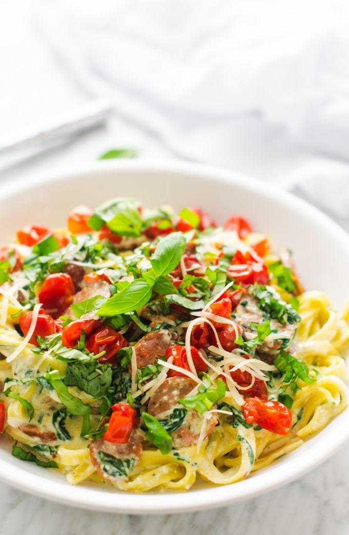 Sausage, Roasted Tomato & Ricotta Fettuccine