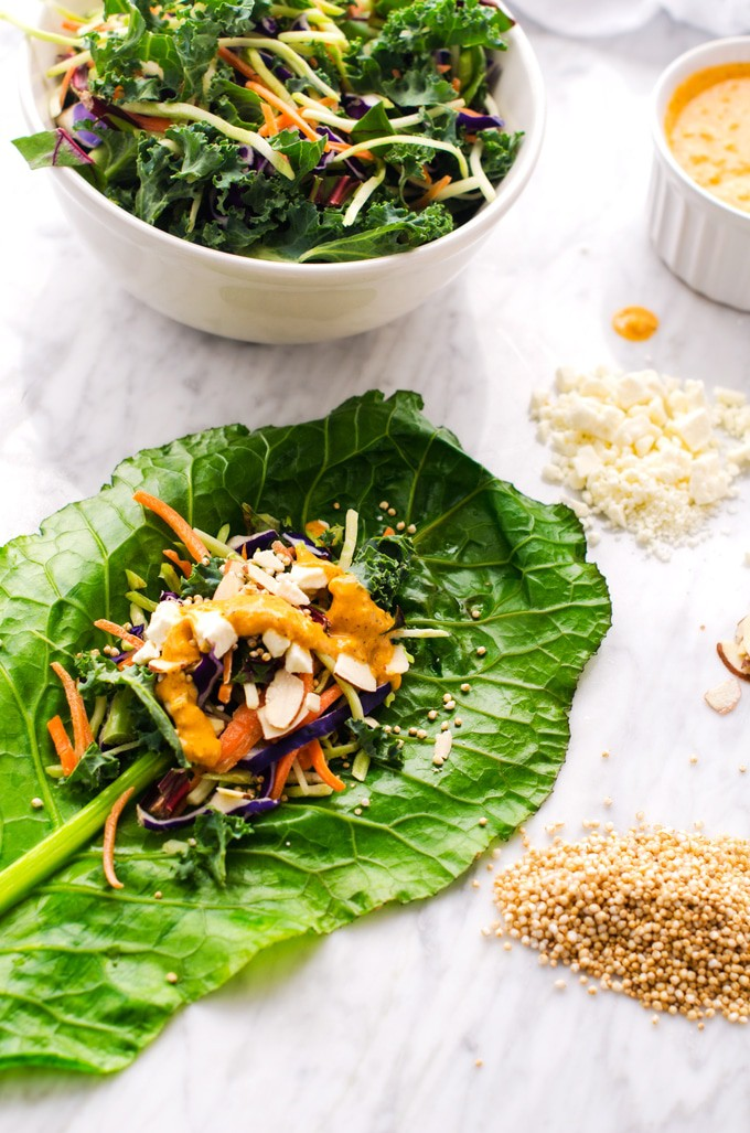 Crispy Quinoa Collard Wraps with Sriracha Dipping Sauce