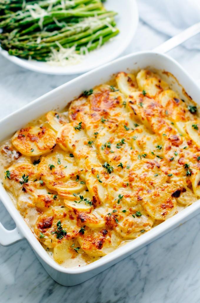 Easter Meal Plan: Honey Sriracha Ham, Goat Cheese Potatoes Gratin & Roasted Asparagus