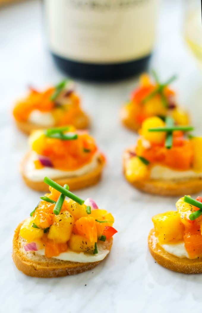 Goat Cheese Crostini with Orange Peach Salsa