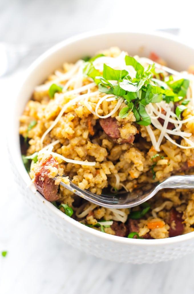 pesto-sausage-rice-skillet-3