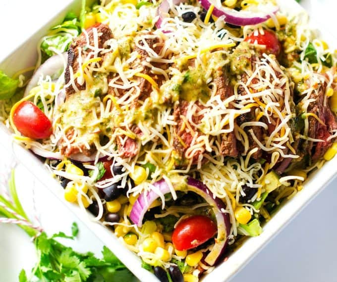 Cheesy Mexican Steak Salad with Chipotle Lime Dressing - Wendy Polisi