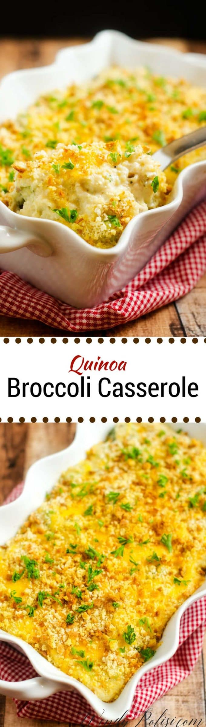 This Quinoa Broccoli Casserole is easy to make and packed with flavor!  With cheddar, goat cheese and a hint of kick this healthy recipe makes a great family meal.