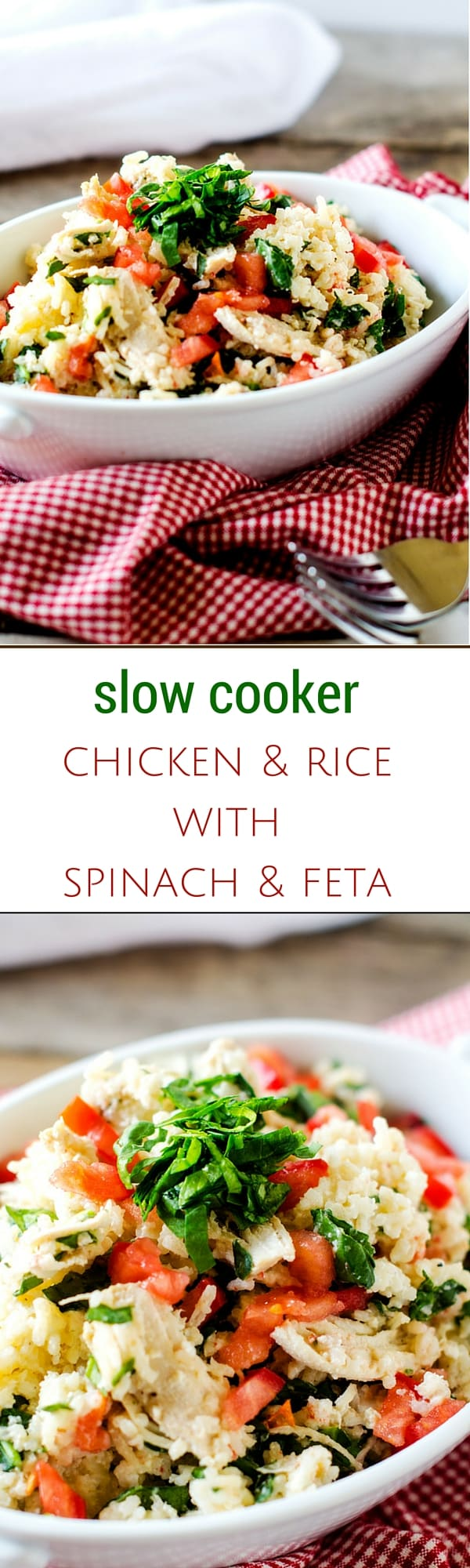 Slow Cooker Chicken & Rice with Spinach & Feta