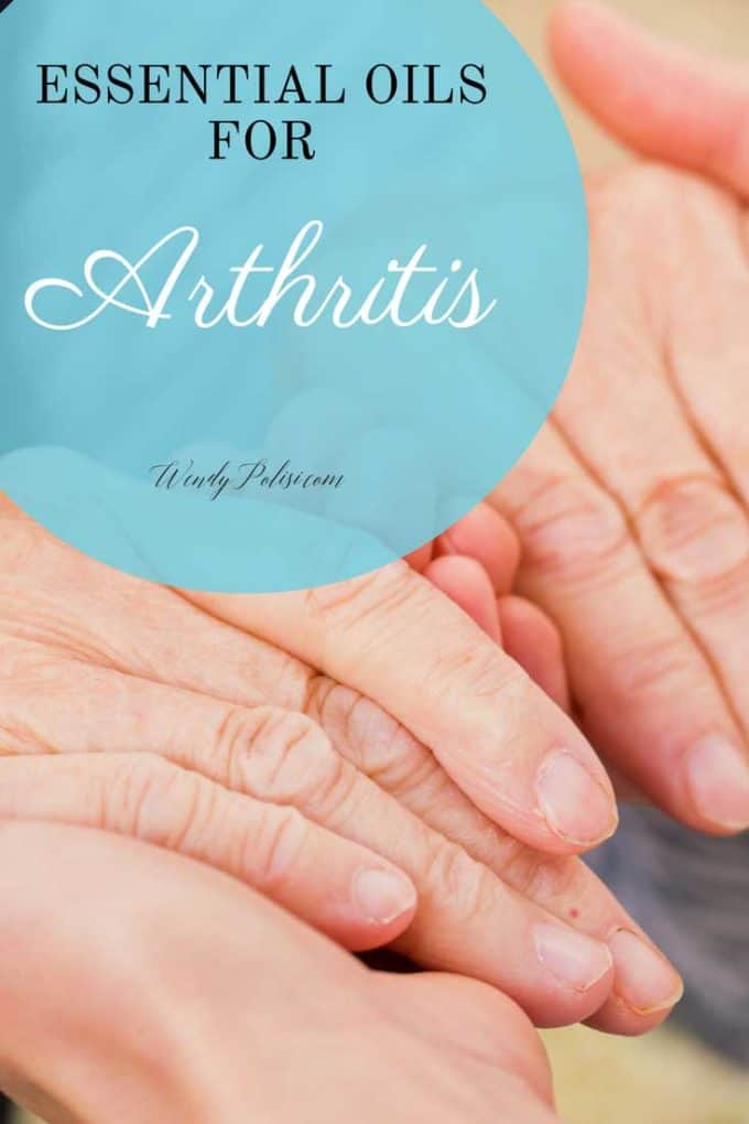 Photo of older hands in younger hands and the copy essential oils for arthritis.