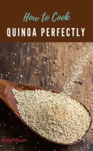 Image of a spoon of uncooked quinoa with the words How to Cook Quinoa Perfectly.