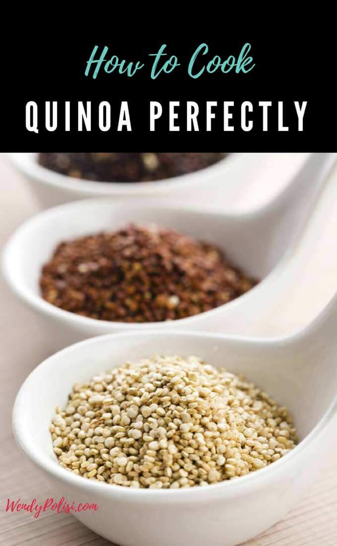 Photo of a spoon of white quinoa, red quinoa and black quinoa with the caption How to Cook Quinoa Perfectly