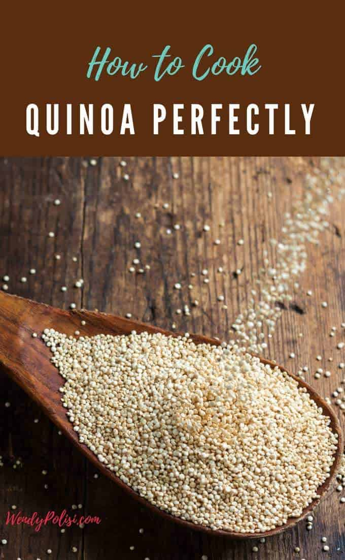 Know that it is good for you, but aren't quite sure how to cook quinoa? Tired of soggy, mushy quinoa? If you want perfect fluffy quinoa, every time read on to learn How to Cook Quinoa Perfectly. Also, learn how to make quinoa taste great every time so that you can enjoy this superfood with enthusiasm. #quinoa #cookingquinoa #glutenfree #recipe