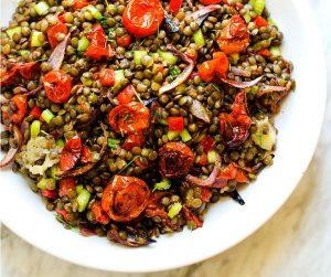 Roasted Garlic & Tomato Lentil Salad