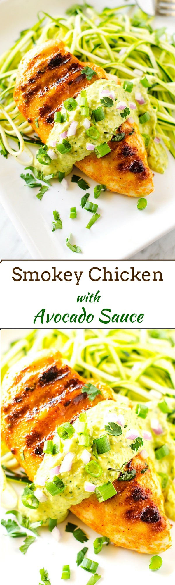 Smokey Chicken with Avocado Sauce - This easy to make dinner is gluten free and has a dairy free/ Paleo option!