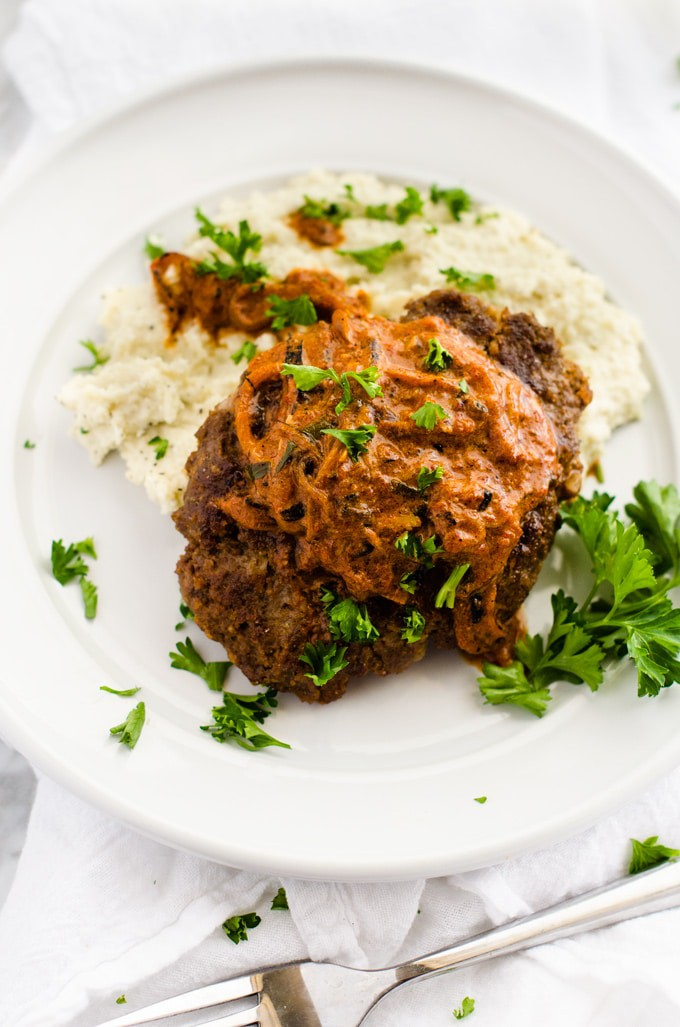 Roasted Garlic Goat Cheese Cauliflower Mash with Salisbury Steak