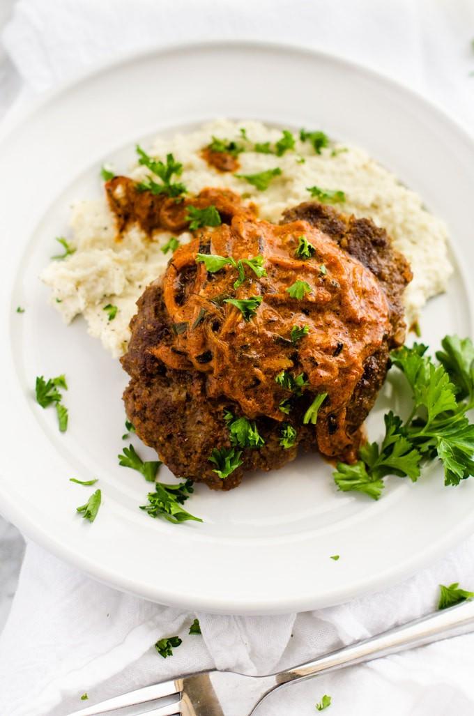 Roasted Garlic Goat Cheese Cauliflower Mash with Salisbury Steak