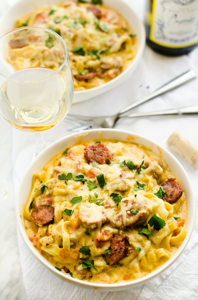 Creamy Roasted Garlic Sausage Pasta